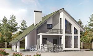 170-009-L Two Story House Plans with mansard and garage, modern Villa Plan