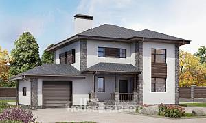 185-004-L Two Story House Plans with garage, modern House Plans