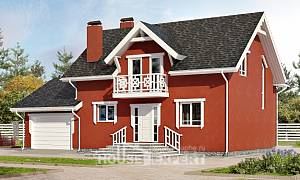 180-013-L Two Story House Plans and mansard with garage under, the budget House Blueprints