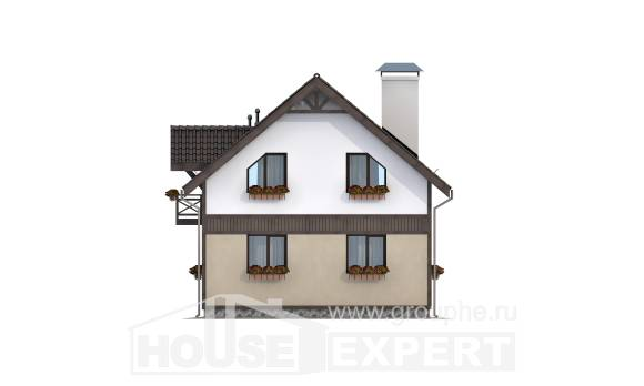 105-001-R Two Story House Plans and mansard, small Home Blueprints