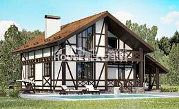 155-002-R Two Story House Plans with mansard roof with garage, a simple Construction Plans