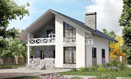 155-001-L Two Story House Plans and mansard with garage, small Villa Plan