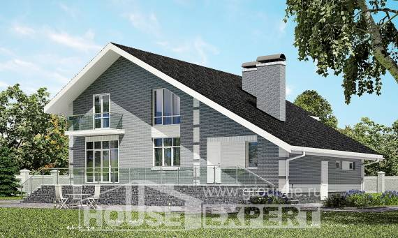190-006-L Two Story House Plans with mansard roof with garage in back, luxury Construction Plans