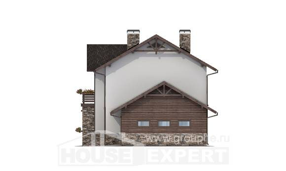 200-005-R Two Story House Plans with garage in back, cozy Timber Frame Houses Plans