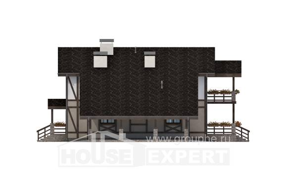 250-002-R Two Story House Plans and mansard with garage in back, classic Architects House