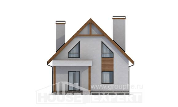 120-005-R Two Story House Plans with mansard roof with garage in back, modern Architect Plans