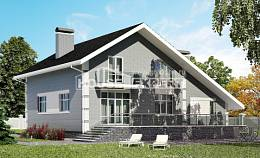 190-006-L Two Story House Plans and mansard with garage under, spacious Drawing House