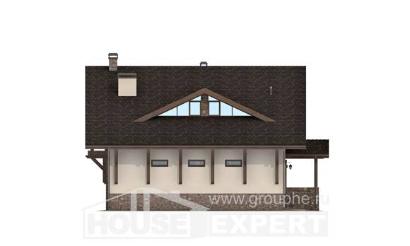190-007-L Two Story House Plans and mansard with garage in back, classic Woodhouses Plans