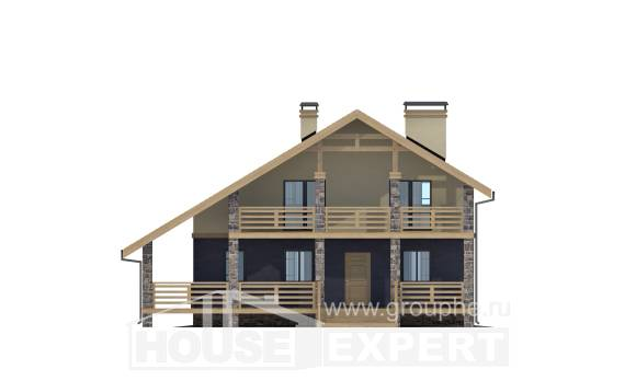 160-010-R Two Story House Plans and mansard, inexpensive Building Plan