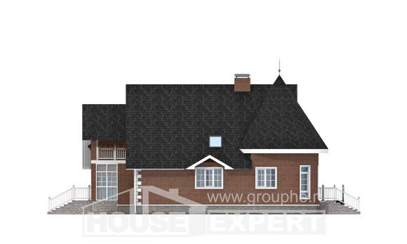 220-002-L Two Story House Plans and mansard with garage in back, best house Plans Free