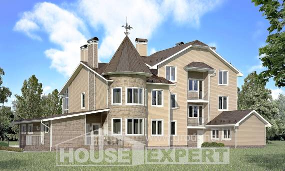 555-001-L Three Story House Plans with mansard roof with garage under, luxury Cottages Plans
