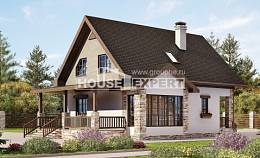 140-002-L Two Story House Plans with mansard roof, compact Villa Plan