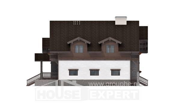 440-001-R Three Story House Plans with mansard roof with garage, luxury Construction Plans