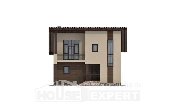 140-005-L Two Story House Plans with mansard, compact Home Blueprints