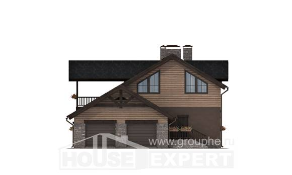 240-002-R Two Story House Plans and mansard with garage in back, modern Building Plan