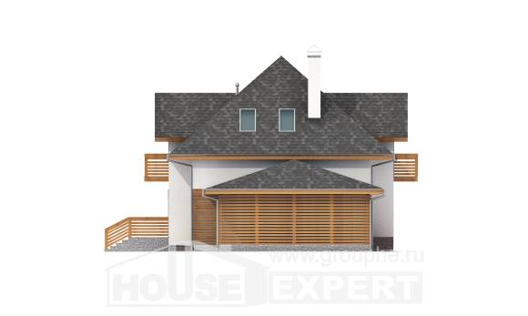 155-004-R Two Story House Plans with mansard roof with garage in front, a simple Plans To Build