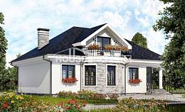 150-008-R Two Story House Plans with mansard, compact Tiny House Plans