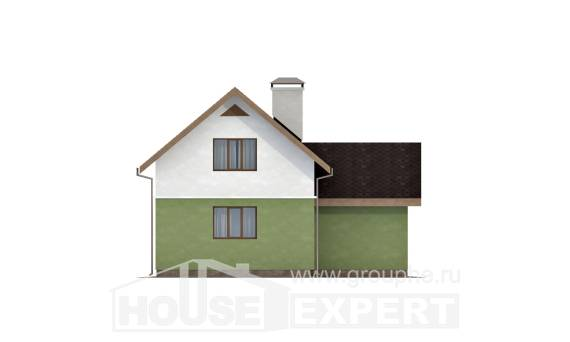 120-002-R Two Story House Plans and mansard and garage, economical House Blueprints