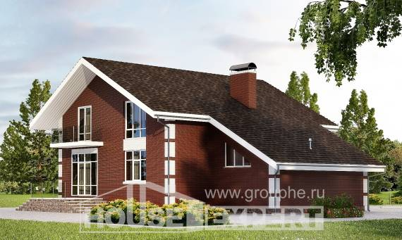 180-001-L Two Story House Plans and mansard with garage in front, inexpensive Blueprints of House Plans