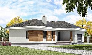 165-001-R One Story House Plans with garage under, modern Architects House
