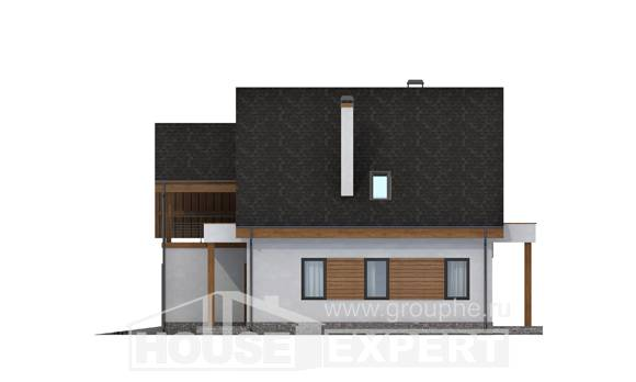 120-005-R Two Story House Plans with mansard with garage under, inexpensive Architect Plans