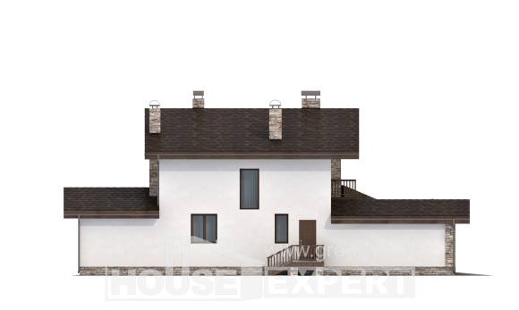 220-001-R Two Story House Plans with mansard with garage, a simple Tiny House Plans