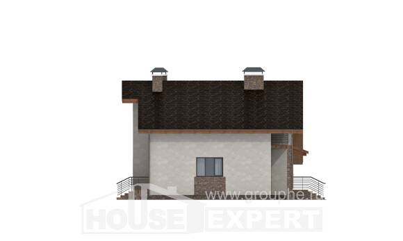 180-008-R Two Story House Plans with mansard and garage, luxury Building Plan
