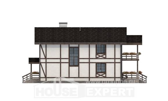 250-002-L Two Story House Plans with mansard with garage, cozy Plan Online