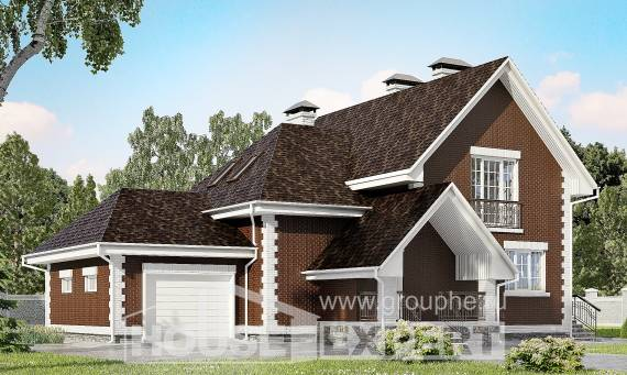 190-003-L Two Story House Plans and mansard with garage in front, spacious House Building