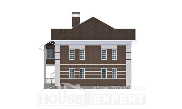 505-002-L Three Story House Plans with garage in back, classic Blueprints