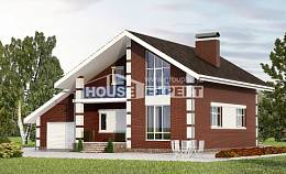 180-001-L Two Story House Plans and mansard and garage, a simple Blueprints of House Plans