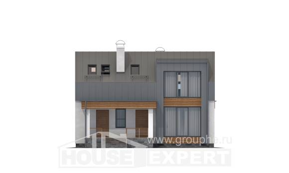 120-004-R Two Story House Plans and mansard, classic Blueprints