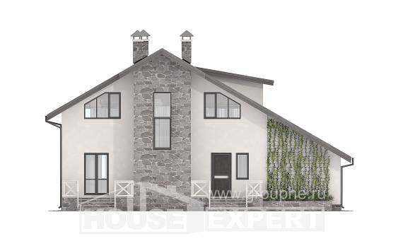 180-017-L Two Story House Plans and mansard and garage, spacious House Building,