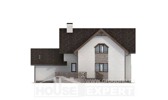 180-013-R Two Story House Plans and mansard and garage, a simple Blueprints