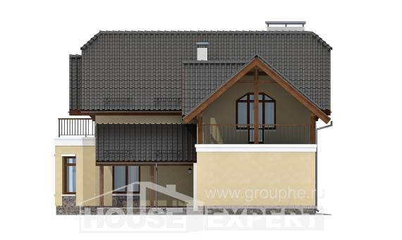 255-003-R Two Story House Plans and mansard with garage, classic Design Blueprints