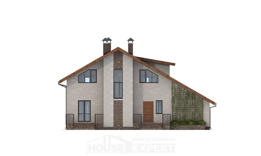 180-008-L Two Story House Plans with mansard roof with garage in back, a simple Blueprints,