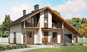 180-008-R Two Story House Plans and mansard with garage in back, average Ranch