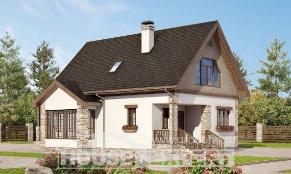140-002-L Two Story House Plans and mansard, compact Planning And Design