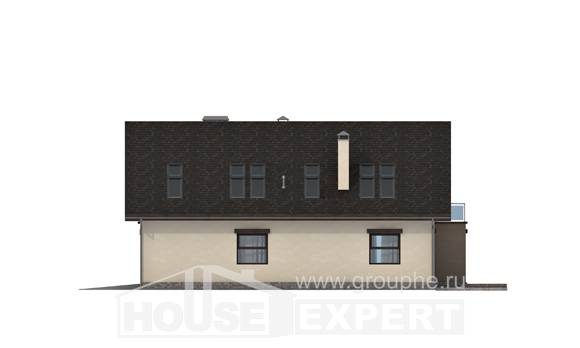 185-005-L Two Story House Plans with mansard roof with garage, a simple Architects House