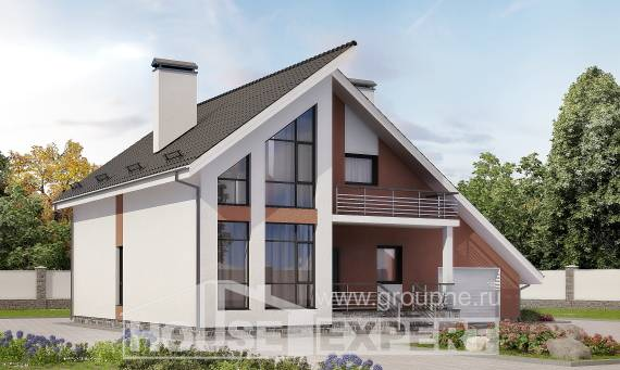 200-007-R Two Story House Plans with mansard roof with garage under, classic Dream Plan