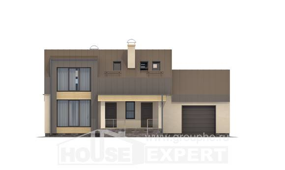 150-015-L Two Story House Plans with mansard roof with garage under, available Design House