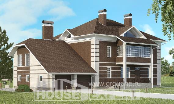 505-002-L Three Story House Plans with garage in front, cozy House Blueprints