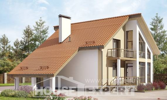 170-009-R Two Story House Plans and mansard with garage, the budget Architects House