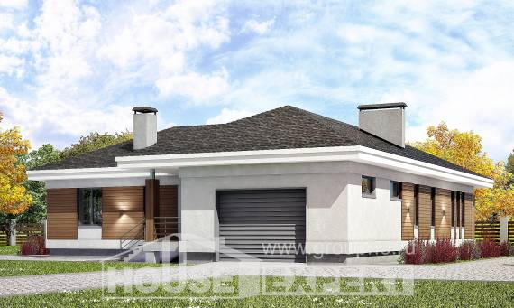 165-001-R One Story House Plans and garage, economical House Plan