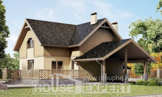 150-011-L Two Story House Plans with mansard roof with garage under, cozy House Planes