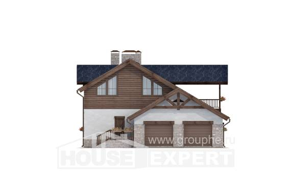 240-002-L Two Story House Plans with mansard with garage under, a simple House Blueprints