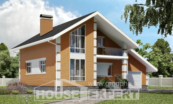 190-006-R Two Story House Plans with mansard roof with garage under, spacious Custom Home
