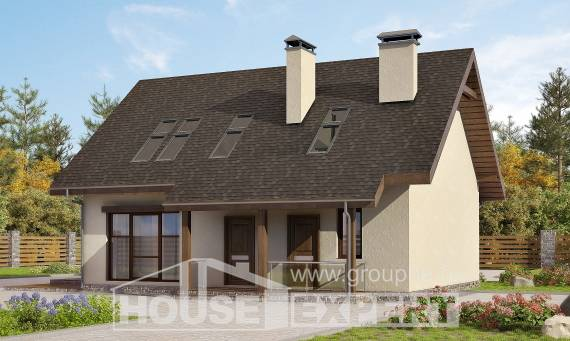 155-012-L Two Story House Plans with mansard roof, modest Cottages Plans