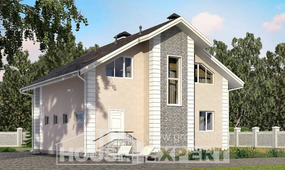 150-002-R Two Story House Plans with mansard with garage, economical Design Blueprints