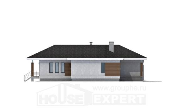 165-001-R One Story House Plans with garage under, compact Dream Plan